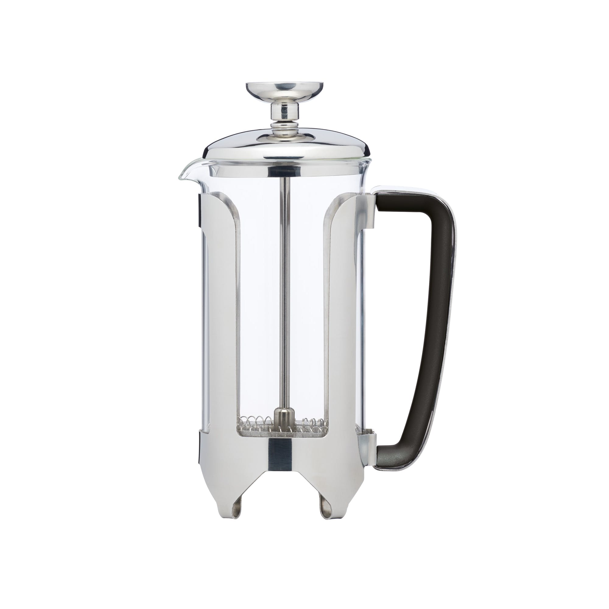 Stainless Steel Glass Cafetiere Chrome Finish In 3 Cup 6 Cup 8 12 Cup