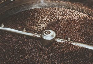 Inside the coffee roaster