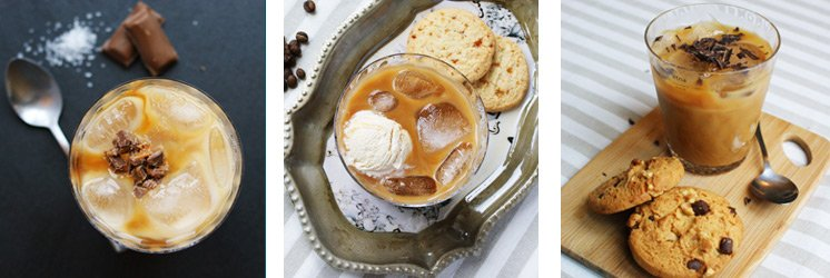 three recipes for flavoured iced coffees