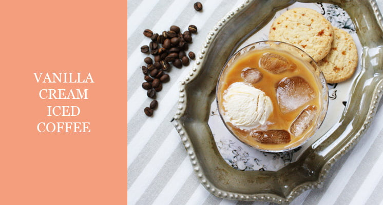 iced coffee with vanilla ice cream