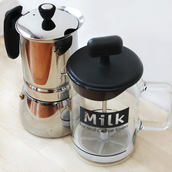 Stove top espresso maker and milk frother