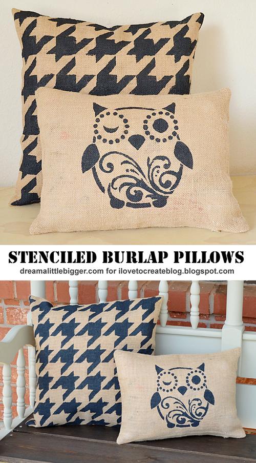 DIY stencilled hessian cushions