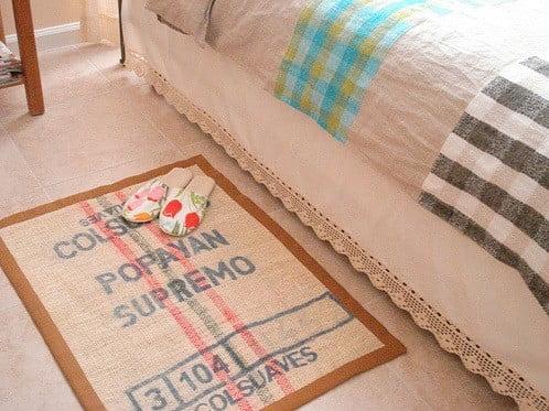hessian DIY rug with border