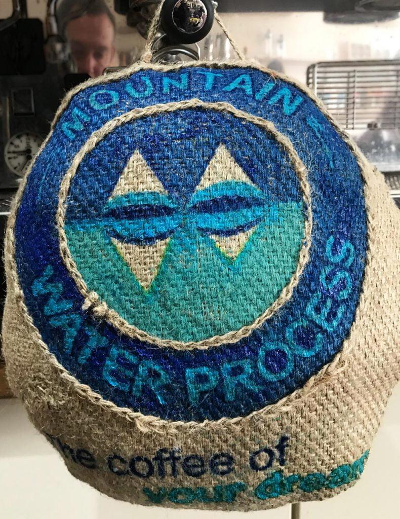mountain water process hessian sack