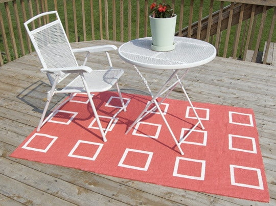 white and coral hessian rug