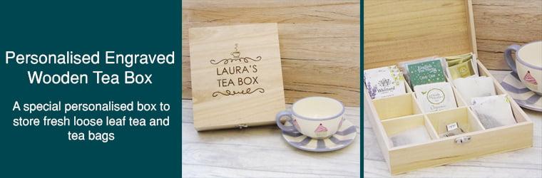 Personalised Engraved Wooden Tea Box