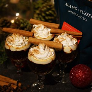 Christmas hot drinks with Coffee, Cinnamon Cognac and smooth Meringue